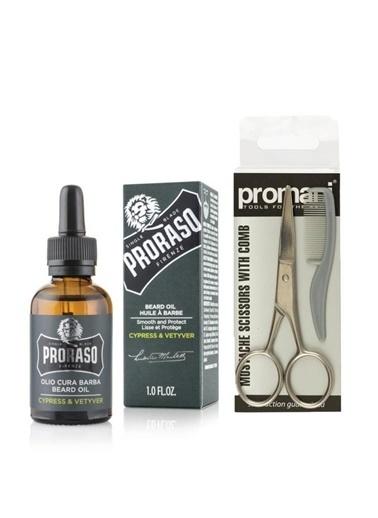 Proraso Proraso Beard Oil Sakal Bakım Yağı Cypress Vetyver 30 Ml+Promani Sakal Ve Bıyık Makası + Tarak No:Pr-741 Renksiz